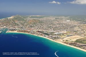 Aerial view of Medano Beach and town, Cabo San Lucas, September 2012.